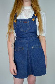 13799ad451 Amazing rare 1970s denim mini! Vintage Landlubber blue cotton denim.  Overall straps