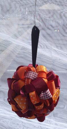 Hokie Style!!! Orange and Maroon Ribbon Topiary-style Ornament - Great for the Holidays or showing Team Spirit!