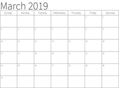 12 Best March 2019 Printable Calendar images