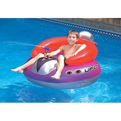 Protect your pool from invaders with a Swimline UFO Pool Float Squirter. Features a built-in squirter that draws from the pool. Inflatable Pool Toys, Inflatable Island, Inflatable Float, Cool Pool Floats, Look Festival, Pool Rafts, Ufo, Floating In Water, Floating Island