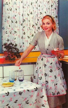 Totally coordinated kitchen! Curtains, apron and tablecloth! 1950's housedress and apron.