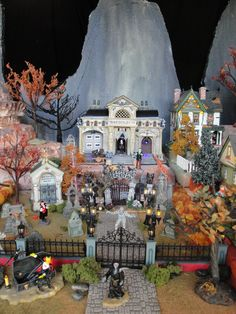Tanu's Lemax and D56 Halloween Village - Oct 2012 - multiple layers of industrial grade styrofoam - you can see where I messed up on the mountain with my pencil