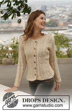 "Knitted DROPS jacket with cables and lace pattern in ""Lima"". Size: S - XXXL. ~ DROPS Design"