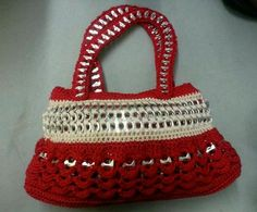 Red and Tan Handbag Handmade in USA with Soda Can Pull Tabs | eBay