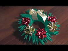 3D origami Christmas wreath tutorial. Cute