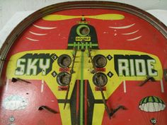 "Vintage Collectibles Sky Ride Pinball Game 23"" Tall Barn Find Great Patina 