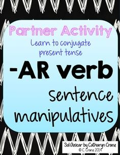 Practice Spanish -ar verbs in present tense collaboratively with this conjugation activity Elementary Spanish, Spanish Classroom, Teaching Spanish, Spanish Sentences, Spanish Grammar, Spanish Language, Spanish Activities, Class Activities, Classroom Activities