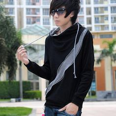 Zip-Accent Two-Tone Hooded Top from #YesStyle <3 MR.ZERO YesStyle.com Oooooooh. I'd definitely wear this......if I had the moneyyyyy. (>x<)