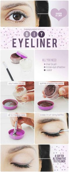 If you don't want to buy a new colored liner, make use of eye shadow you already have. | 15 Ways To Amp Up Your Eyeliner Game