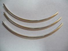 Bead Silver Plated Brass 100x3mm curved tube Pkg by darlamarie23, $3.15