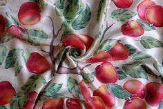 Designer silk scarf RED APPLES head scarf neckerchief by Batikrosa