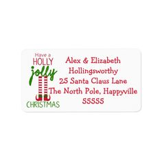 Shop Christmas Elf - Have A Holly Jolly Christmas Label created by hungaricanprincess. Custom Address Labels, Return Address Labels, Christmas Elf, Christmas Cards, Elf Legs, Christmas Address Labels, How To Be Outgoing, Card Envelopes, Templates