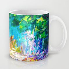 WELCOME TO UTOPIA Bold Rainbow Multicolor Abstract Painting Forest Nature Whimsical Fantasy Fine Art Mug by EbiEmporium - $15.00 Landscape Galaxy Stars Dream Elegant Rich Deep Crimson Red Lime Emerald Kelly Hunter Green Midnight Dark Royal Blue Turquoise Aqua Pastel Girly Pink Peach Orange White Black Modern Trees Flowers Grass Floral Mixed Media Chic Contemporary Decorative Throw Pillow Cushion #art #painting #nature #abstract #colorful #coffee #cup #mug #dorm