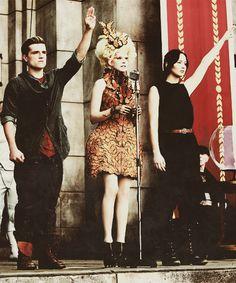 Peeta Mellark, Effie Trinket, and Katniss Everdeen