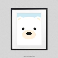 Nursery Decor: Arctic Polar Bear Wall Art, Wall Decorations / Posters for Baby Room and Kids Room, Cute Animal Posters as Minimalist Artwork