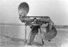 An acoustic listening device used by the Dutch army for hearing enemy airplanes, between World War I and II.