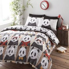 #Bedding Hugh Panda Bear Duvet Cover – Multi Reversible Black White Bedding Set in Home, Furniture & DIY | eBay