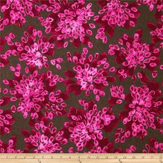 Color Full Flowers Pink from @fabricdotcom  Designed by Jennifer Sampou for Robert Kaufman, this cotton print is perfect for quilting, apparel and home decor accents. Colors include shades of magenta and chocolate.