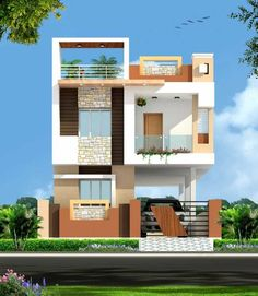 Duplex House Design Plans Elevation Front Flat Roof Modern