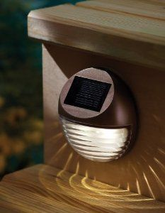 Amazon.com: Moonrays 95027 Wall/Post Mount Solar Deck Light, Round: Home Improvement $10 perfect deck lighting