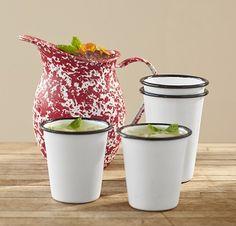 enamelware splatterware pitcher and tumblers