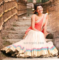 """Actress Kajal latest half saree photos from her upcoming tamil movie """"Jilla"""". The movie is starring Vijay and Kajal agarwal in the lead roles. Dress Indian Style, Indian Dresses, Indian Outfits, Half Saree Lehenga, Bridal Lehenga Choli, Half Saree Function, Kajal Agarwal Saree, Mehendi Outfits, Half Saree Designs"""