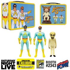 "Saturday Night Live The Ambiguously Gay Duo and Bighead 3 3/4-Inch Figures in Tin Tote - Convention Exclusive  The colorful, collectible 8 5/8-inch wide x 7-inch tall x 4-inch deep tin tote showcases series-true artwork on all sides, including images of Ace and Gary flying, Bighead on his throne, and ""The Ambiguously Gay Duo"" logo.    via @AnotherUniverse.com  https://anotheruniverse.com/saturday-night-live-the-ambiguously-gay-duo-and-bighead-3-3-4-inch-figu"