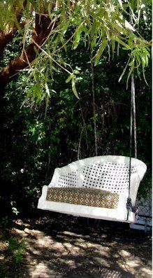 Don't toss chairs with broken legs ever again!  Dishfunctional Designs: This Ain't Yer Grandma's Porch Swing! DIY Swing Beds & Chairs