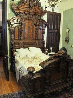 victorian furniture Bed from bedroom set manufactured in Louisville, Kentucky by the J. Davis Co. and exhibited at the Philadelphia Centennial of In the Thomas Brennan house in Louisville.