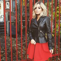 ❥Pintℯrℯst : .¸¸.•*¨*♡•*¨*•.¸¸Follow me : @ℳelialea✦ Red Leather, Leather Skirt, Leather Jacket, Winter Time, Skirts, Jackets, Hair, Xmas, Outfits