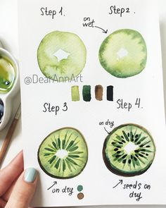 Hello 🥝😌 my new tutorial is done. Love seeing your beautiful paintings bas… Hello 🥝😌 my new tutorial is done. Love seeing your beautiful paintings based on my step-step tutorials 😍Don't forget to tag me so I won't… – Watercolor Water, Watercolor Drawing, Watercolor Illustration Tutorial, Fruit Illustration, Drawing Drawing, Watercolor Ideas, Food Illustrations, Ink Painting, Arte Sketchbook