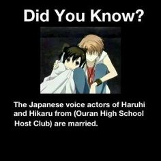 What?!  The voice actors of Haruhi nas Hikari are marries in the real world?! This must be another reason we must ship them!