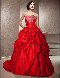 Gorgeous Ruffled Red Ball Gown Wedding Dress <3