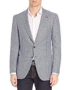 ISAIA Gingham Two-Button Blazer