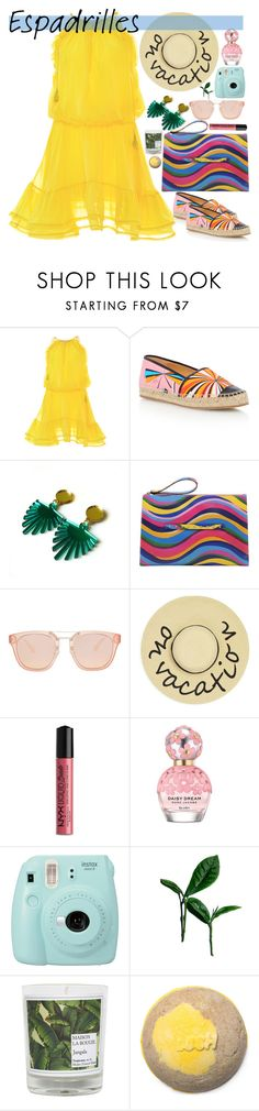 """Step into Summer: Espadrilles"" by maymimix ❤ liked on Polyvore featuring Alexis, Emilio Pucci, RED Valentino, August Accessories, NYX, Marc Jacobs, Fujifilm and Maison La Bougie"