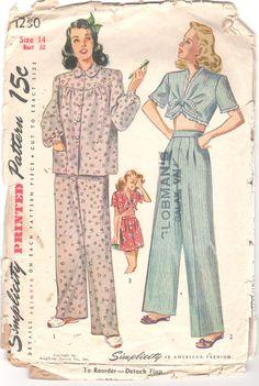 Simplicity 1230 1940s Misses Pajamas Pattern Trousers Tie Top Bishop  Sleeves Womens Vintage Sleepwear Sewing Size 18 Bust 36 c651437c0