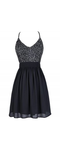 Glisten To Me Sequin Dress in Charcoal  www.lilyboutique.com