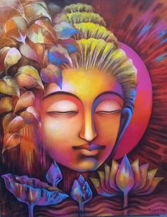 Buy Buddha artwork number a famous painting by an Indian Artist Prabal Roy. Indian Art Ideas offer contemporary and modern art at reasonable price. Budha Painting, Zen Painting, Mural Painting, Painting Canvas, Art Buddha, Buddha Artwork, Oil Pastel Paintings, Indian Art Paintings, Paintings Online