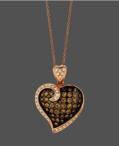 Le Vian Diamond Necklace, 14k Rose Gold Chocolate and White Diamond Heart Pendant (1-1/3 ct. t.w) - Diamonds - Jewelry & Watches - Macy's