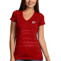 Antigua Kansas City Chiefs Women's Red Juke V-Neck T-Shirt