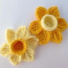 2 Crochet daffodil appliques