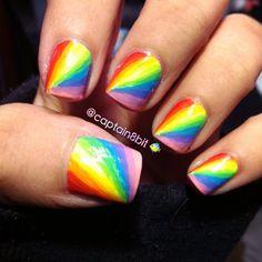 Rainbow Nails Hippie Nails, Bright Nail Art, Rainbow Brite, Rainbow Nails, Nail Designs, Polish, Makeup, Beauty, Halloween