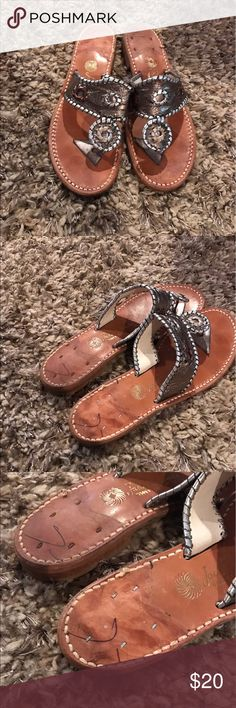 Jack Rodgers sandals Jack Rodgers  Metallic leather sandals in good condition with light wear on sole. The back stickers on heels have been removed as shown in pics. Jack Rogers Shoes Sandals