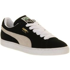 Puma Suede Classic (310 ILS) ❤ liked on Polyvore featuring shoes, sneakers, trainers, black white, unisex sports, black and white shoes, sports trainer, black white shoes, sport shoes and suede shoes