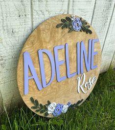 Nursery Wood Sign, Nursery Name, Nursery Room, Floral Nursery, Floral Wall Art, Middle Names For Girls, Farmhouse Frames, 24th Birthday, Wood Wedding Signs