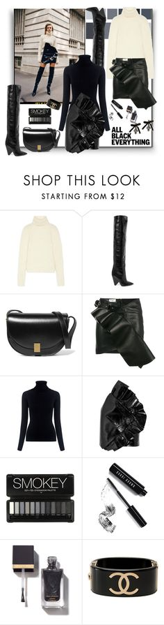 """All Black Everything"" by sylandrya ❤ liked on Polyvore featuring Yves Saint Laurent, Victoria Beckham, M.i.h Jeans, Bobbi Brown Cosmetics, Chanel, Dsquared2 and allblack"