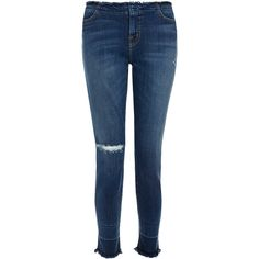 J Brand 835 Blue Fringed Mid-Rise Skinny Capri Jeans (2,675 MXN) ❤ liked on Polyvore featuring jeans, blue, frayed skinny jeans, super skinny jeans, skinny capris, destructed skinny jeans and distressed skinny jeans