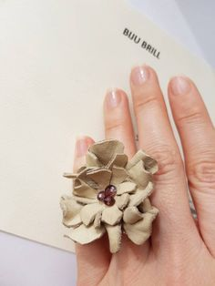 Leather Floral Ring, Statement Flower Ring, Oversize Funky Leather Jewelry, Up-cycled Leather Accessory, Nature Lover Gift, Nude Boho Ring