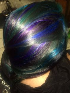 Abby's blue, teal, purple, and green highlights