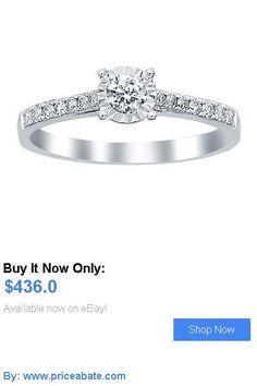 Wedding rings: 1/3 Carat Round Cut 14K Solid White Gold Engagement Ring BUY IT NOW ONLY: $436.0 #priceabateWeddingrings OR #priceabate